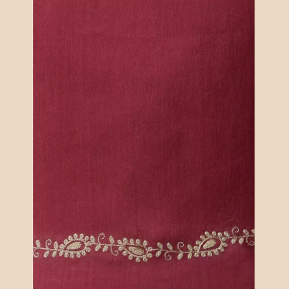 Maroon Embroidered Chanderi Blouse Fabric