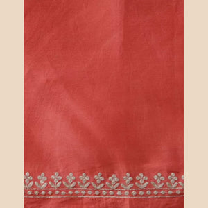 Red Embroidered Chanderi Blouse Fabric