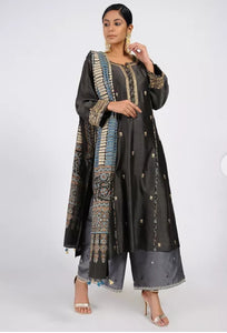 Charcoal black chanderi silk kurta
