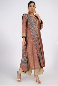 Dusty rose chanderi silk kurta