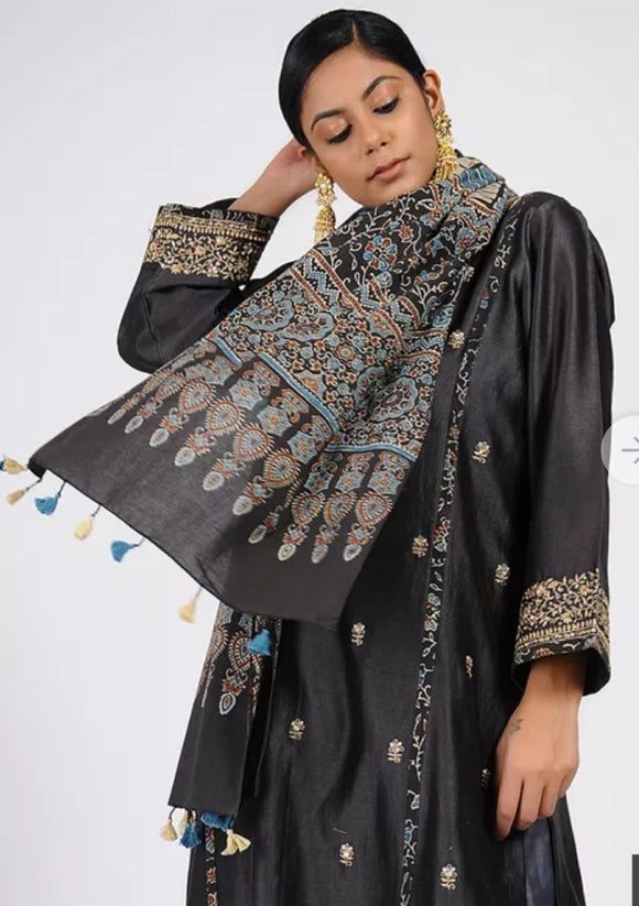 Charcoal black Ajrakh cotton stole