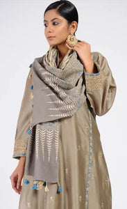 Grey Ajrakh printed cotton stole