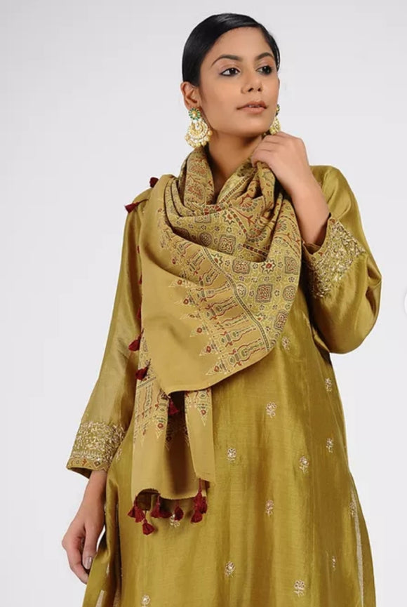 Ochre Ajrakh printed cotton stole