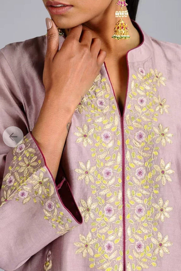 Mauve Chanderi embroidered Kurta