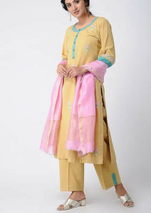 Mustard Embroidered Khadi Cotton Kurta