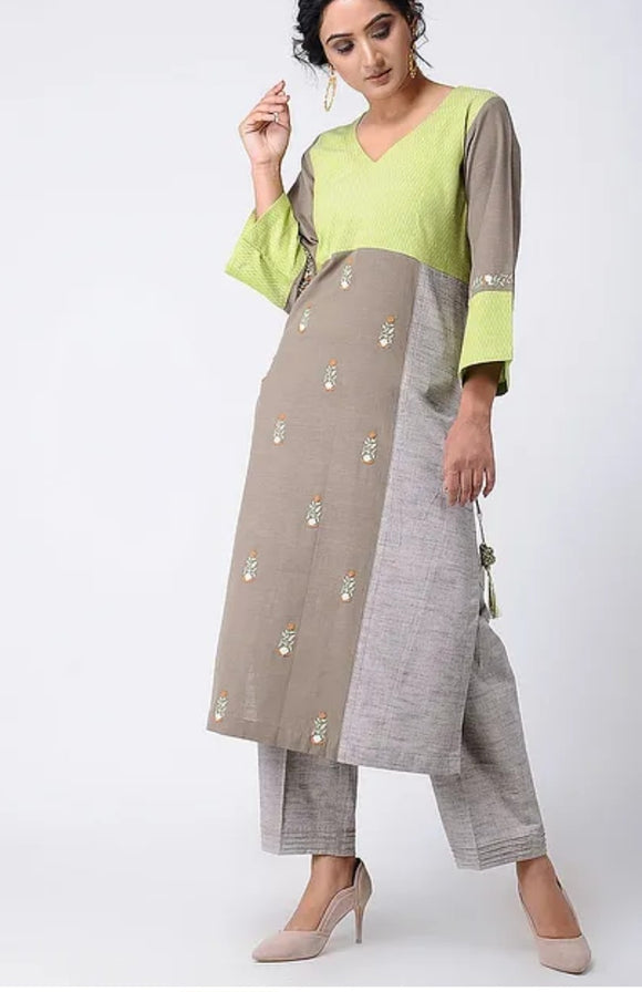 Green-Grey Embroidered Khadi Cotton Kurta