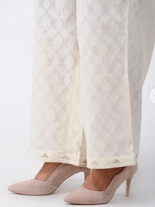 Ivory Cotton Palazzos with Applique Work