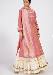 Pink Embroidered Chanderi Kurta