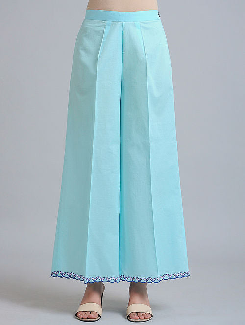 Blue Cutwork Palazzos/Pants