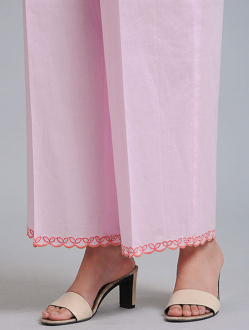 Pink Cutwork Pants/Palazzos