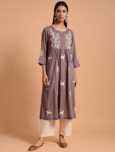 Grey Flamingo Kurta