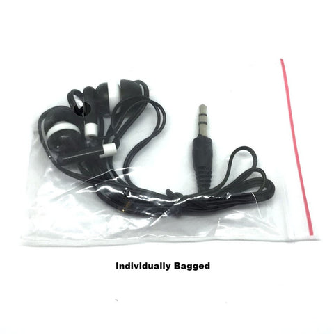 Black Stereo Earbud Headphones (Special Long 4ft Cord)