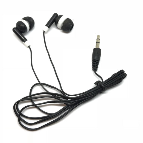 Image of Black Stereo Earbud Headphones (Special Long 4ft Cord)
