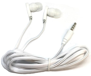 White Stereo Deluxe Earbuds With Microphone