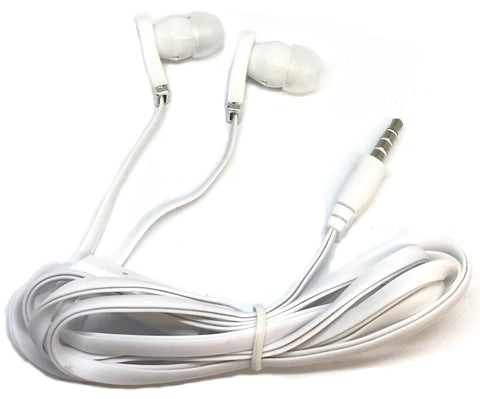 Image of White Stereo Deluxe Earbuds With Microphone