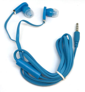 Blue Stereo Deluxe Earbuds With Microphone