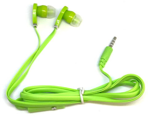 Green Stereo Deluxe Earbuds With Microphone