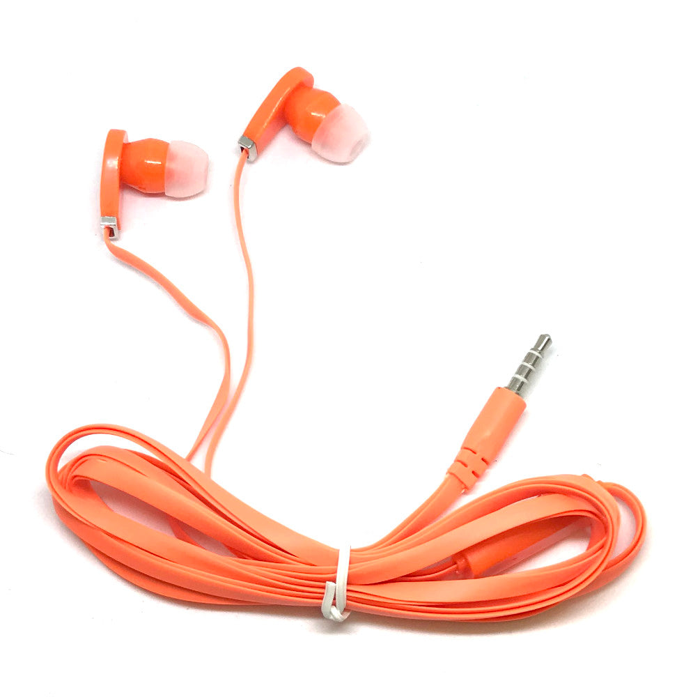 Orange Stereo Deluxe Earbuds With Microphone