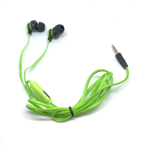 Image of Premium Green Stereo Deluxe Earbuds With Microphone
