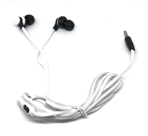 Image of Premium White Stereo Deluxe Earbuds With Microphone