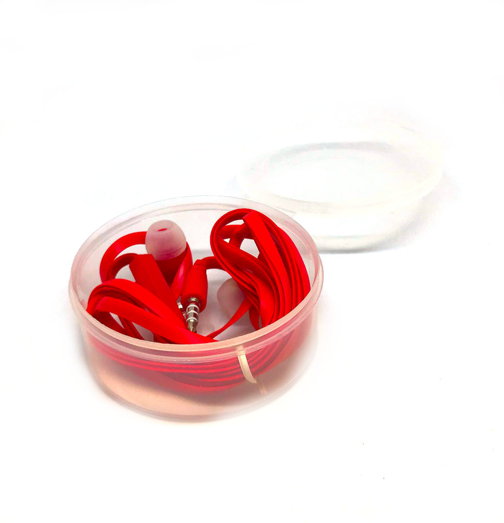 Red Stereo Deluxe Earbuds With Microphone
