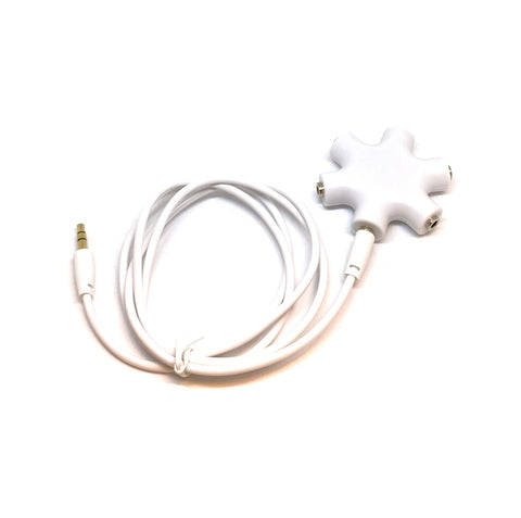 Image of Earbud and Headphone 5 Way Audio Splitter With Cord