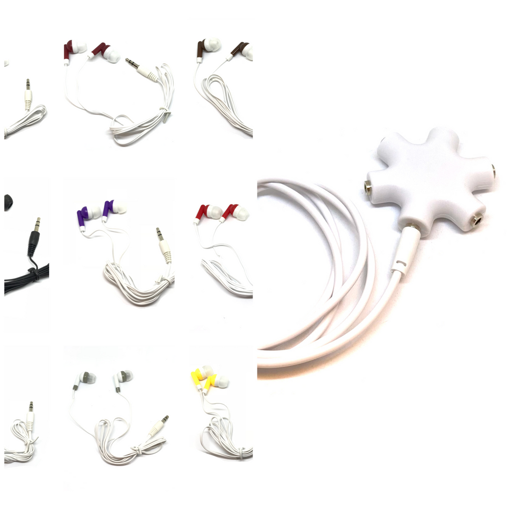 50 Earbuds and 5 Audio Splitters