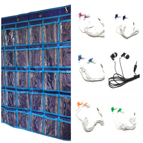 50 Earbuds and Hanging Wall Organizer