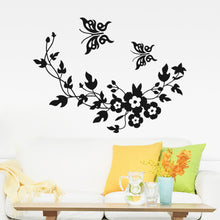 Wall Decal Flowers and Vine Butterfly - Wishfulwall