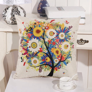 Digital Print Flower Cotton Linen Square Cushion Cover 43x43cm - Wishfulwall