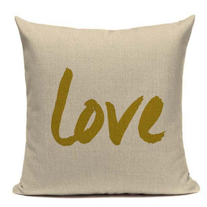 LOVE Birds Cushion Covers Linen Cotton 45x45cm - Wishfulwall