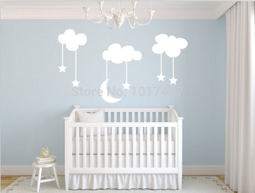 Moon Stars Clouds Baby Nursery Wall Stickers - Wishfulwall