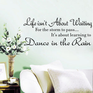 "Wall Decal ""Life Isn't About Waiting For the Storm To Pass It's About Learning To Dance In The Rain"" - Wishfulwall"