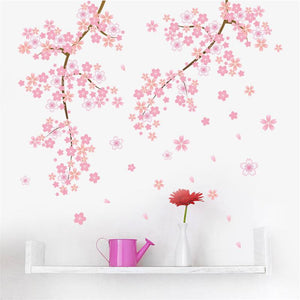 Wall Decal Pink Flower Branch - Wishfulwall