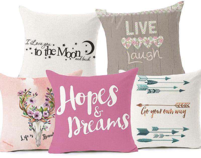 Love Words Home Decorative Pillows Cover 40x40cm Wishfulwall Adorable Decorative Pillows With Words
