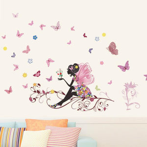 Butterfly Flower Fairy Wall Decal - Wishfulwall
