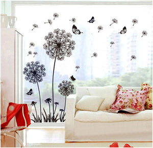 Black Dandelion Flower Butterfly Wall Decal - Wishfulwall