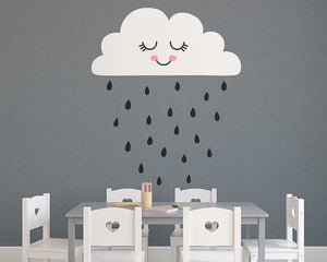 Cute Cloud and Rain Wall Decal - Wishfulwall