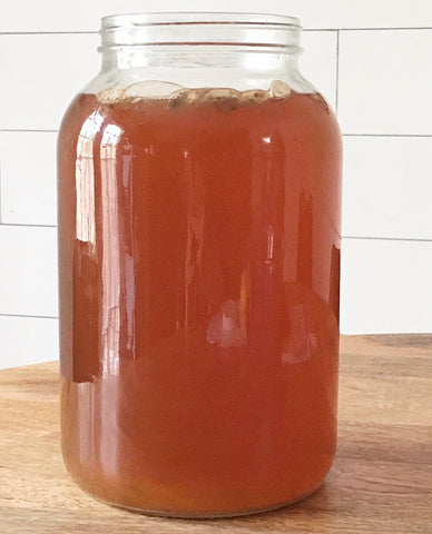Yeast in jar of home-brew kombucha.
