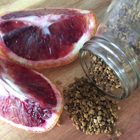 Recipe for blood orange & bee pollen kombucha by YEABUCHA.
