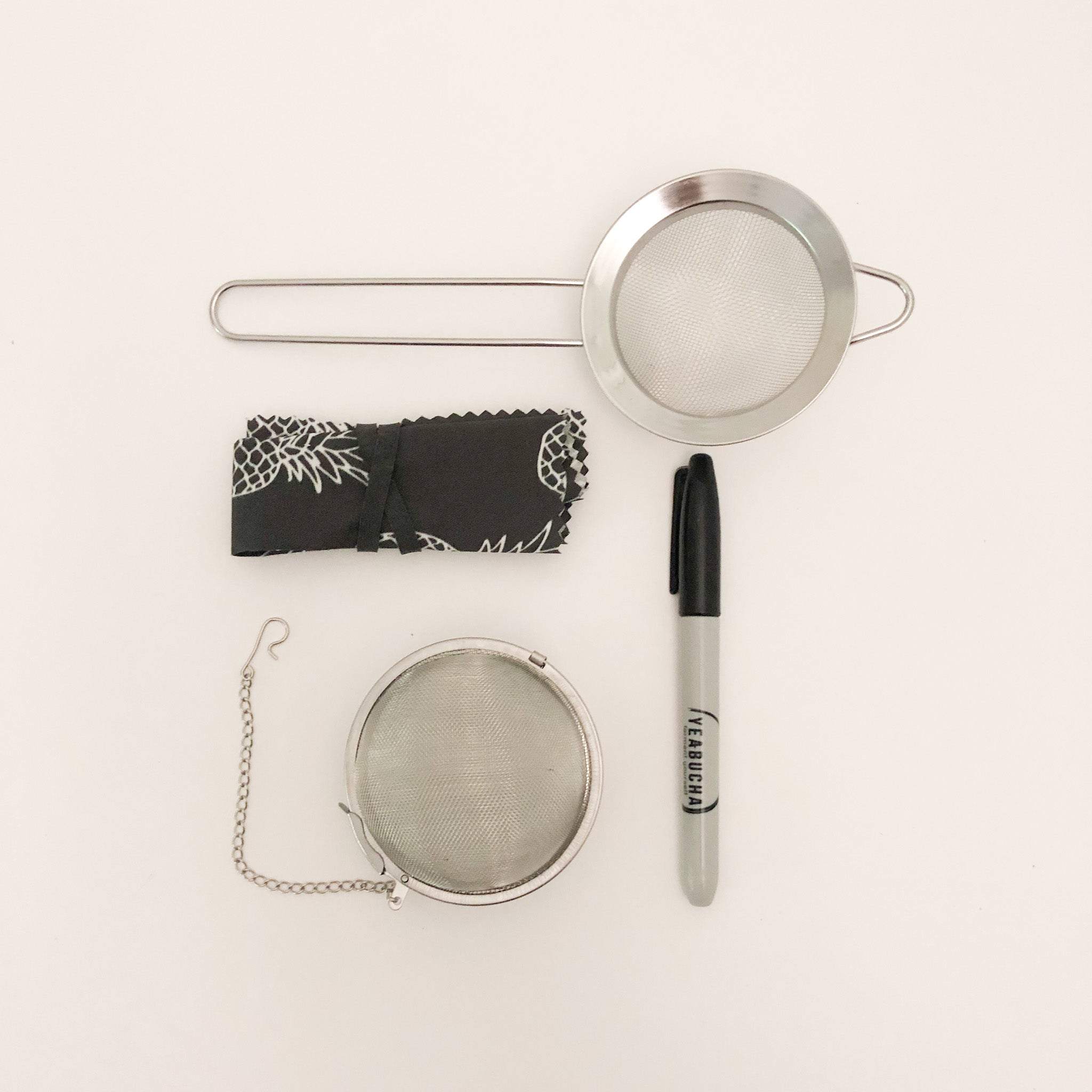 Home Brewing Kombucha accessory kit: small strainer, cloth cover, sharpie, stainless steel tea ball