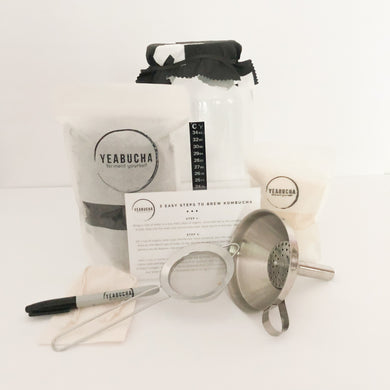Everything but the SCOBY DIY Home Brew Kombucha Kit by YEABUCHA. Including everything you need to start brewing
