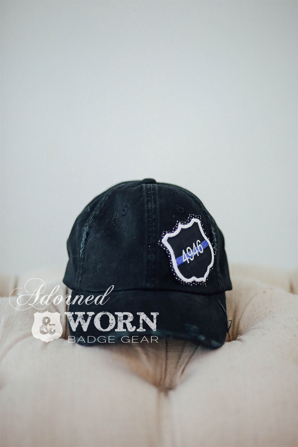 Distressed Hat (Black) | Thin Blue Line Custom Badge
