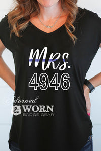Mrs. Glitter Badge Number | Drapey Cross Back Tee