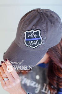 Distressed Hat (Grey) | Mrs. Custom Badge