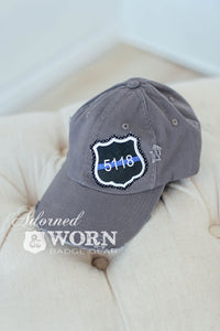 Distressed Hat (Grey) | Thin Blue Line Custom Badge