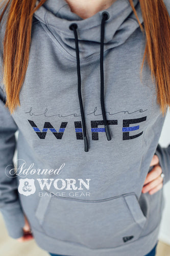 Blue Line Wife | Thumbhole Cowl Neck Hoodie