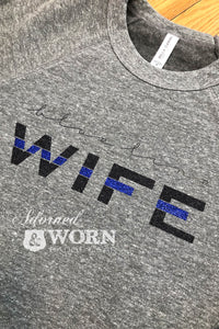 {READY TO SHIP} Blue Line Wife | Grey Crewneck Sweatshirt | Size Medium