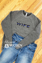 Blue Line Wife | Grey Crewneck Sweatshirt
