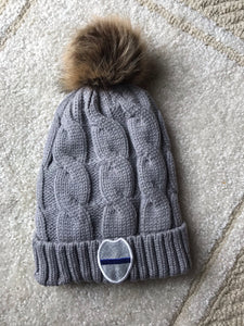 Gray Cable Knit Pom Pom Hat | Custom Badge